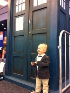 We also went to Supanova Gold Coast and here's Xander dressed at the eleventh Doctor in front of the Hire a Tardis